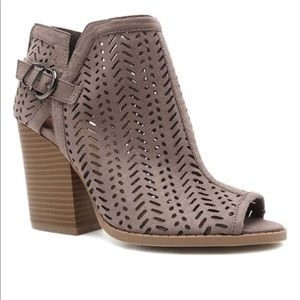 Open Toe Taupe Perforated Booties